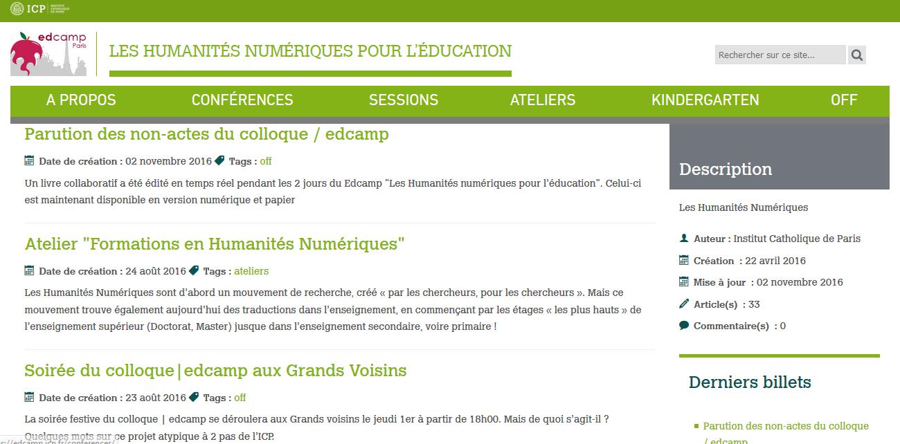 """capture d'écran blog """"les humanités numériques pour l'éducation"""""""