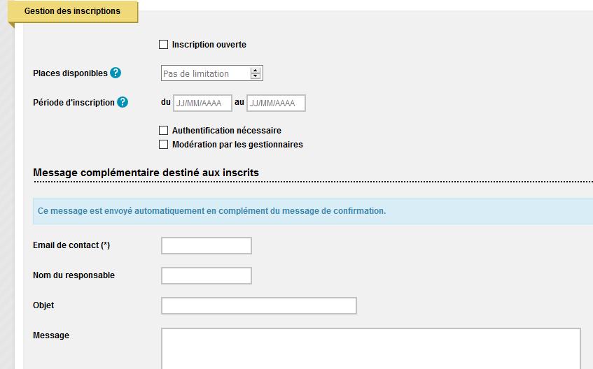 inscription en ligne - capture d'écran formulaire de saisie