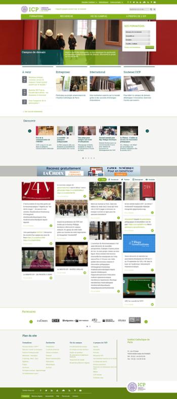 Capture d'écran Page d'accueil ICP